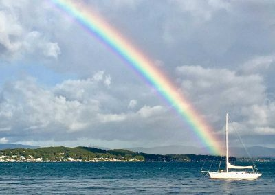 Selby Cottage view of rainbow and sailing boat